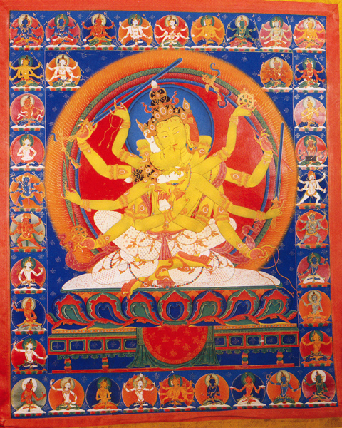 An Unique Tibetan Painting with various Images of Gods