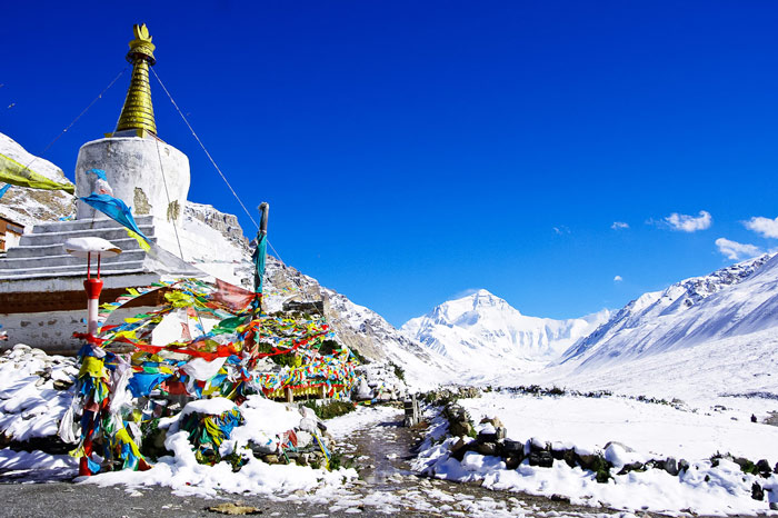 Mount Everest seen from Rongbuk Monastery in winter.