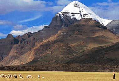 The name of Mt. Kailash means  'Treasure or Saint of Snow Mountain' in Tibetan for the year-round snow on its peak and its historical religious connections.