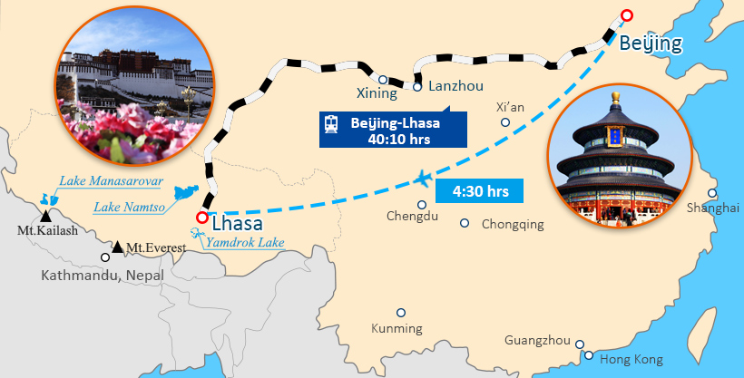 Beijing and Tibet Tour Map
