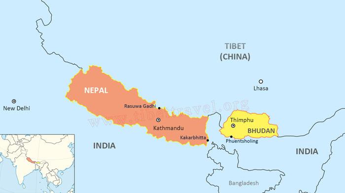 Map of Tibet and Bhutan Map Of Bhutan on