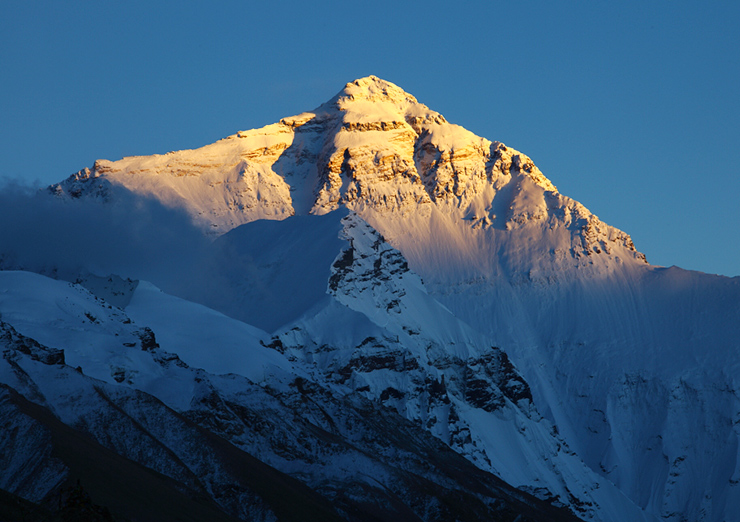 Before leaving EBC, enjoy the breathtaking view of Mt. Everest at sunrise.