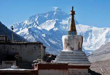 View of Mt.Everest from Rongbuk Monastery