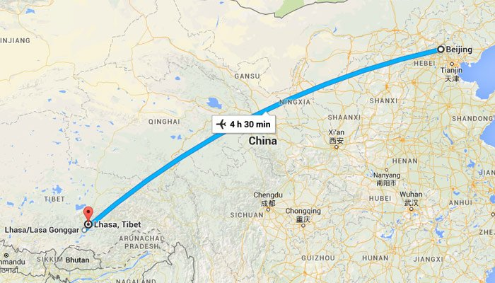 Flights from Beijing to Lhasa and Lhasa to Beijing