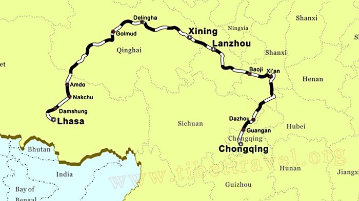 chongqing lhasa train map