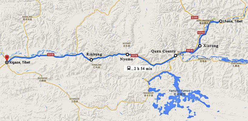 lhasa to shigatse train map
