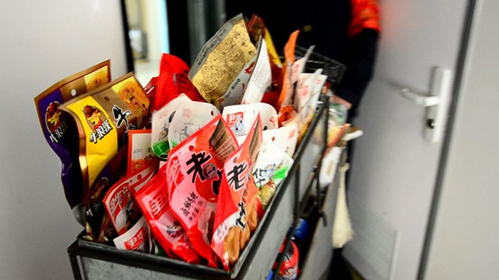 snack trolley in the train