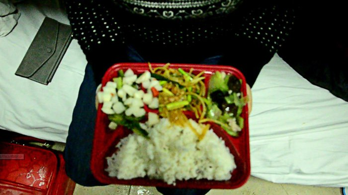 sample of box meal in the train