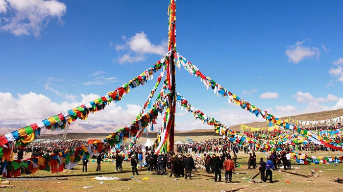 Every year, a new prayer flagpole is erected at Tarboche during the Saga Dawa festival