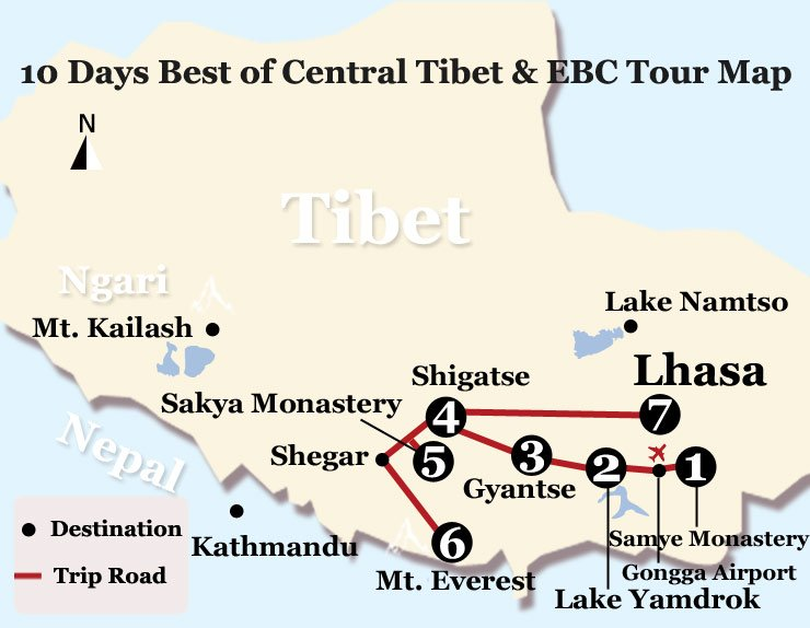 10 Days Best of Central Tibet & EBC Tour Map