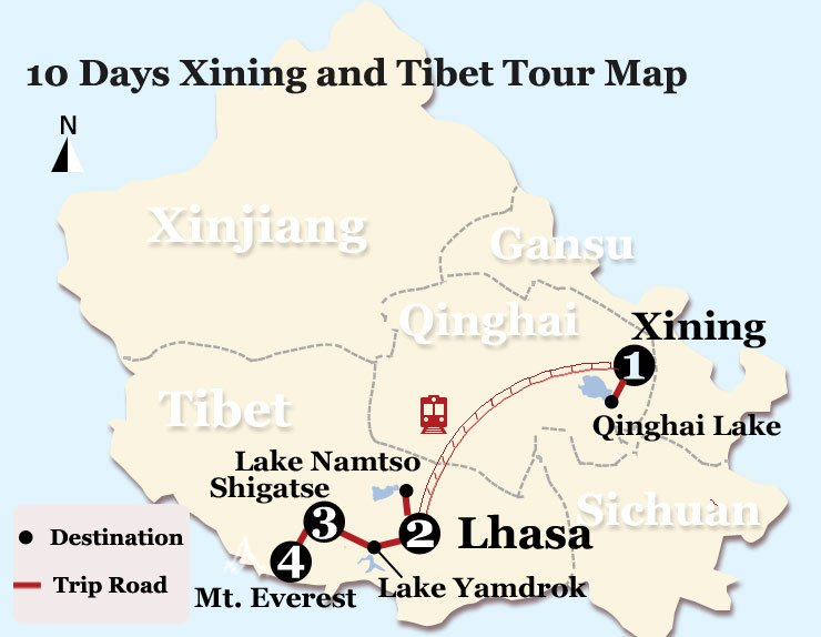 10 Days Xining and Tibet Tour Map