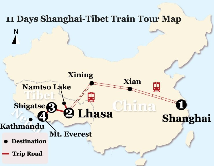 11 Days Tibet Train Tour from Shanghai