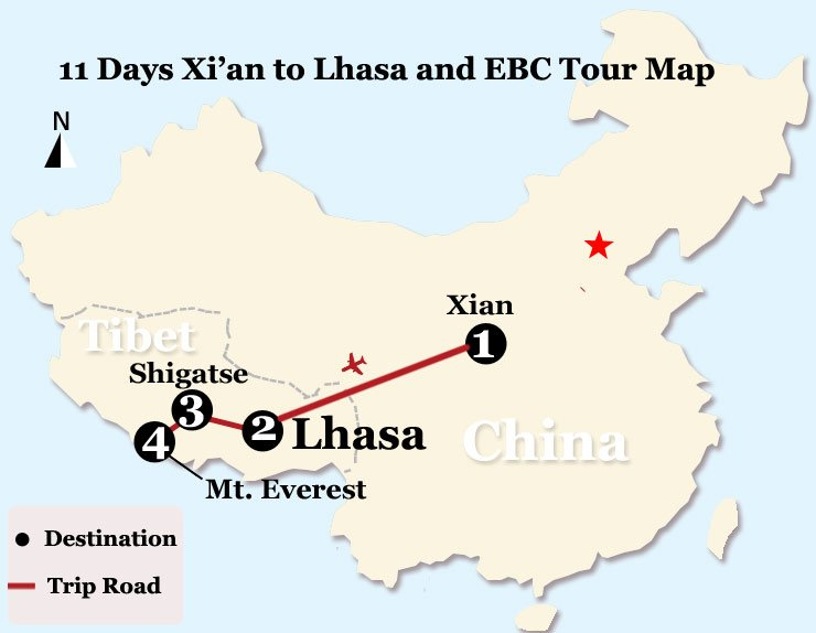 11 Days Xi'an to Lhasa and EBC Tour Map