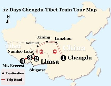 12 Days Chengdu-Tibet Train Tour Map