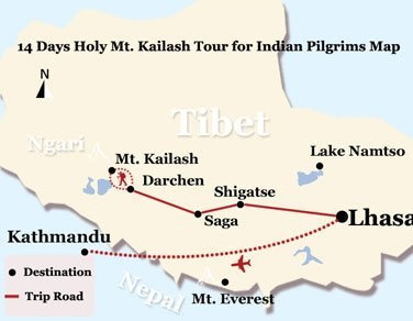 14 Days Holy Mt. Kailash Tour for Indian Pilgrims Map