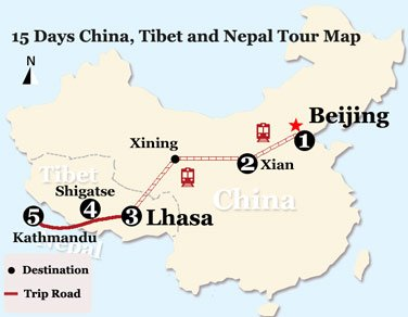 15 Days China, Tibet and Nepal Tour Map