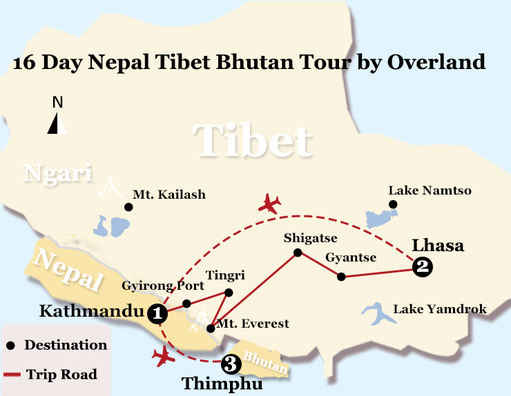 16 Day Nepal Tibet Bhutan Tour by Overland Map