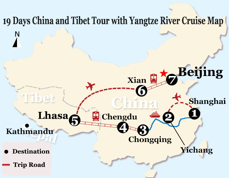 19 Days China and Tibet Highlights Tour with Yangtze River Cruise