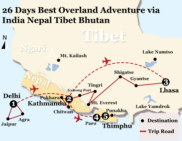 26 Days Best Overland Adventure via India Nepal Tibet Bhutan