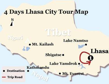 4 Days Lhasa City Tour Map