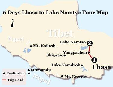 6 Days Lhasa to Lake NamtsoTour Map