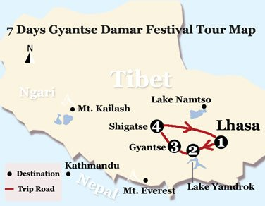 7 Days Gyantse Damar Festival Tour Map