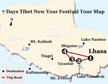 7 Days Tibet New Year Festival Tour Map