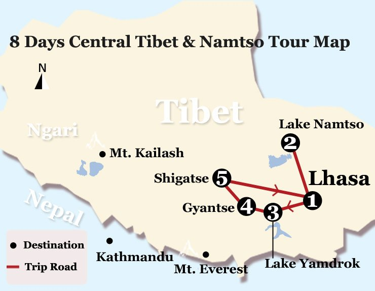 8 Days Lhasa Namtso Shigatse Tour Map