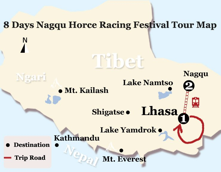 8 Days Tibet Nagqu Horce Racing Festival Tour Map