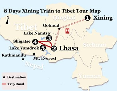 8 Days Xining Train to Tibet Tour Map
