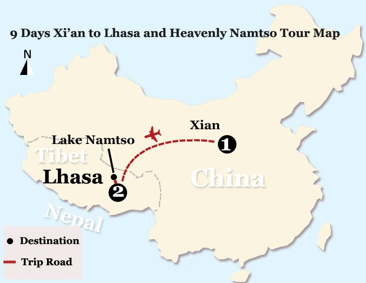 9 Days Xi'an to Lhasa and Heavenly Namtso Tour Map