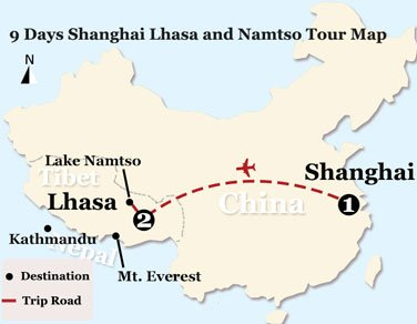 9 Days Shanghai Lhasa and Namtso Tour Map