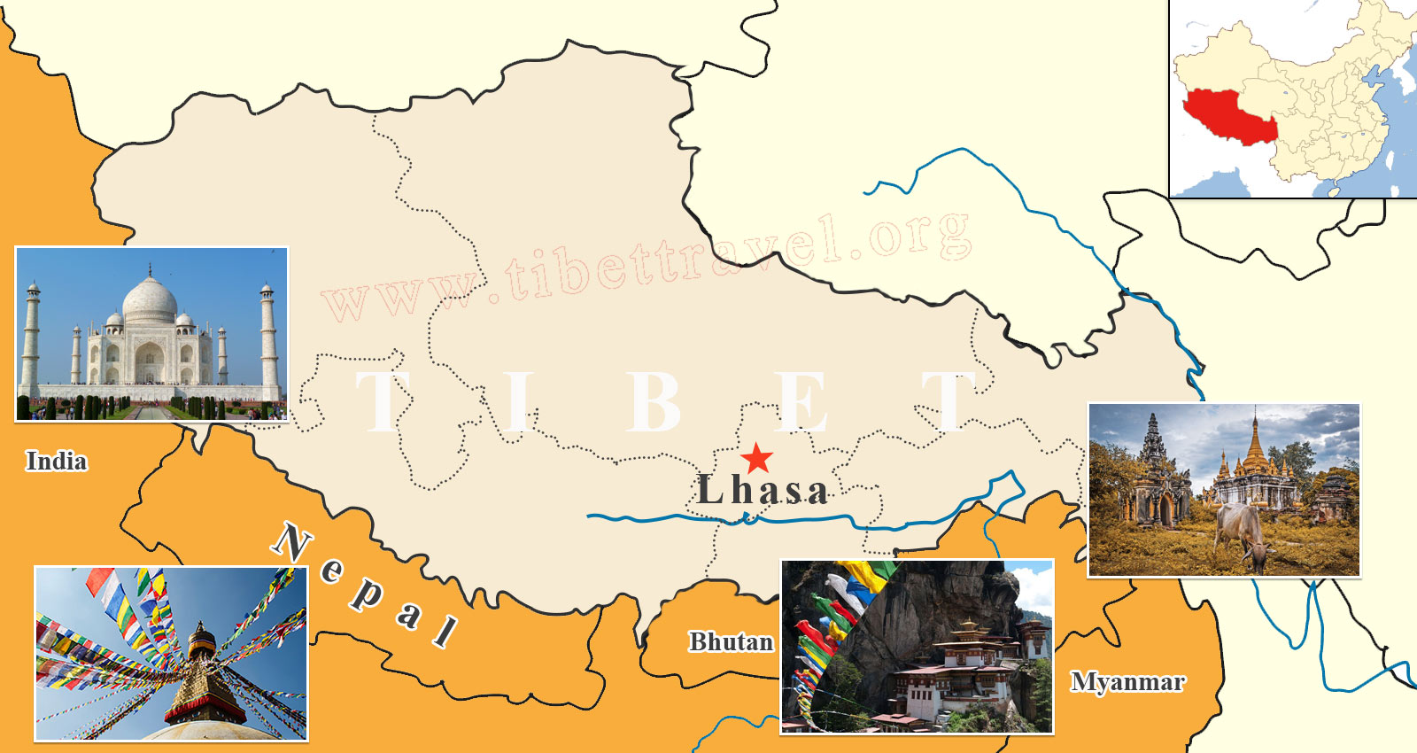 Tibet Lhasa and Surrounding Countries in Asia on Map