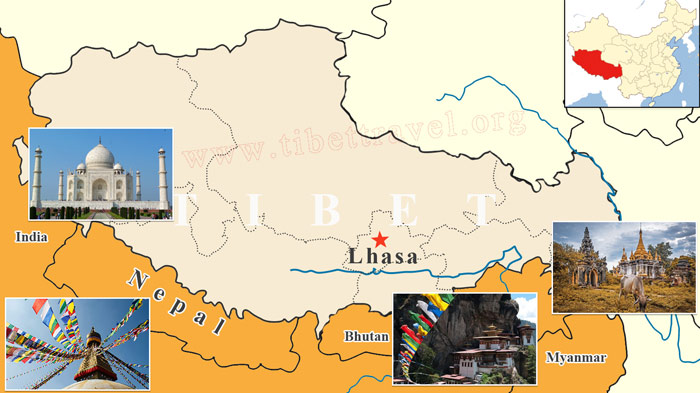 Map of Tibet Lhasa and Surrounding Countries in Asia