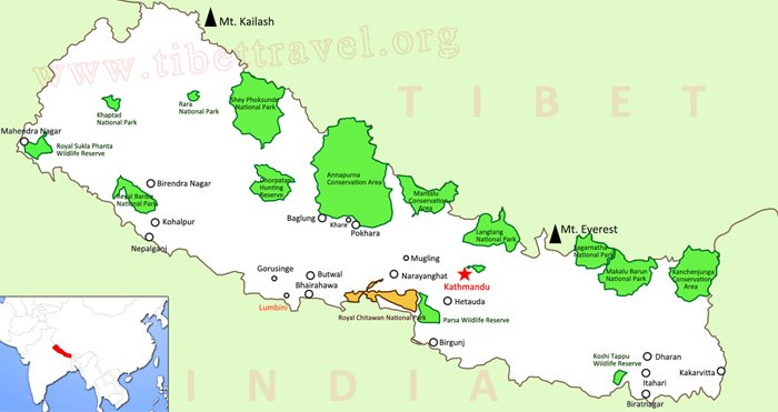major attractions in nepal map