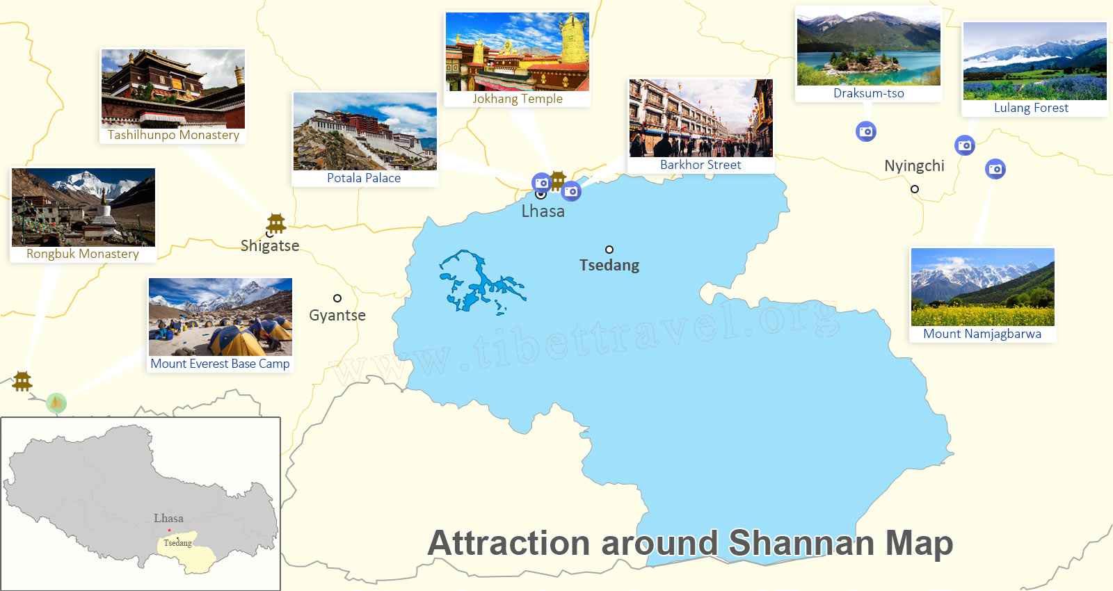 Attractions around Shannan Map