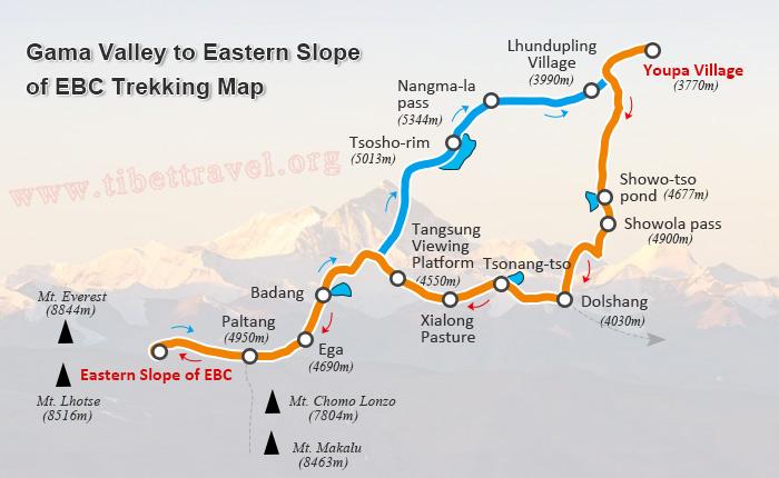 Everest Base Camp Trekking Maps in Tibet