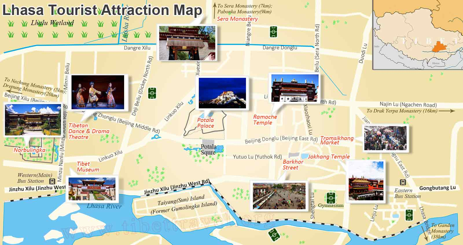 lhasa attraction map