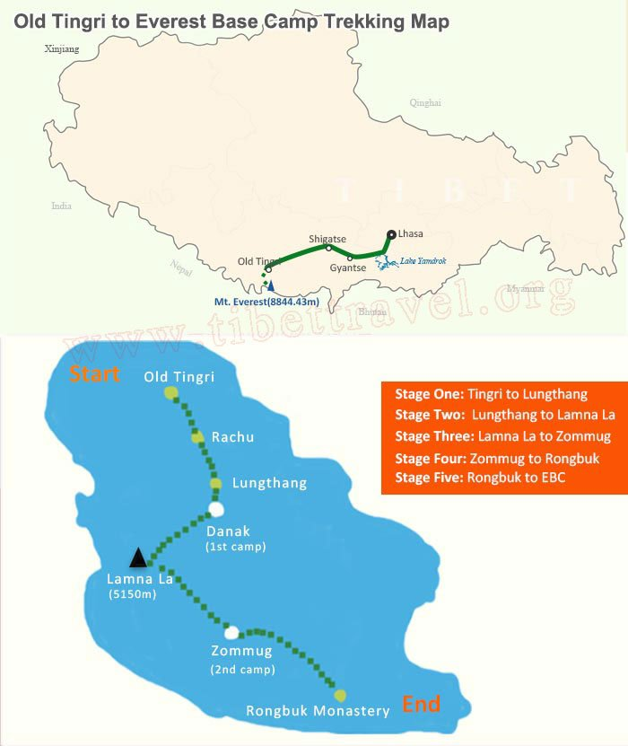 map of old tingri to everest base camp trekking