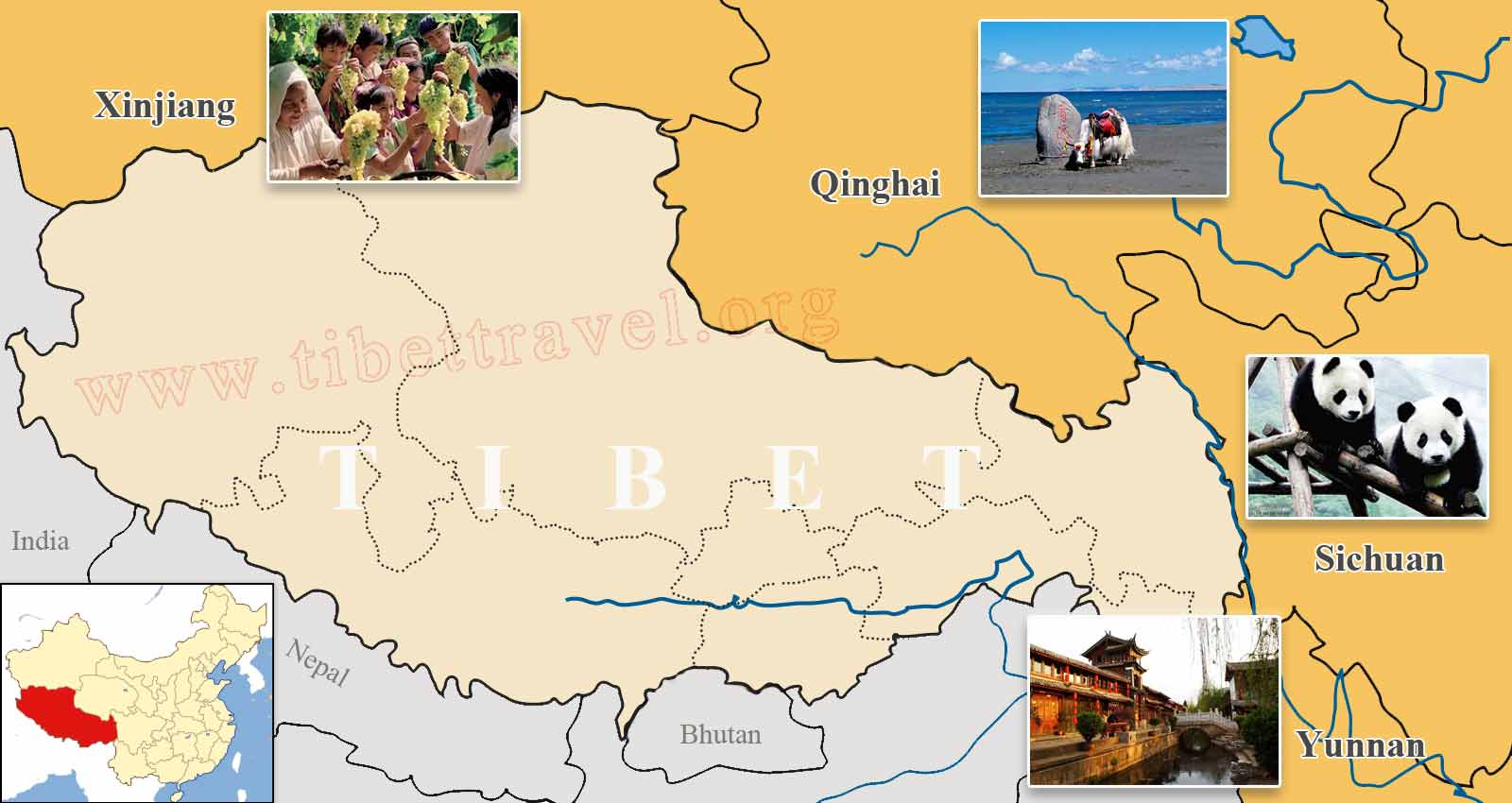 Where is tibet located on map of china asia and world tibet map and surrounding areas in china gumiabroncs Choice Image