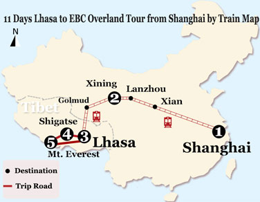 11 Days Lhasa to EBC Overland Tour from Shanghai by Train