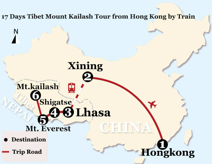 17 Day Tibet Mount Kailash Tour from Hong Kong by Train