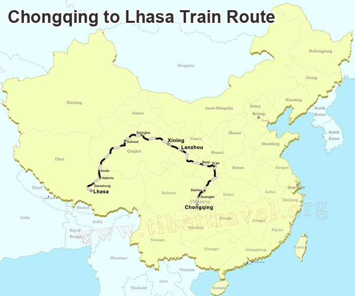 map of chongqing to lhasa train