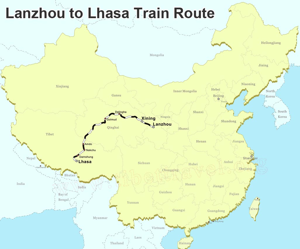 lanzhou to lhasa train map