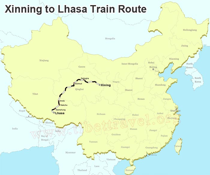 map of xining to lhasa train