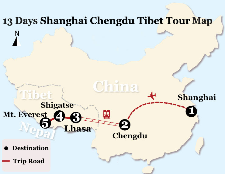 13 Days Shanghai Chengdu Lhasa EBC Tour by Train