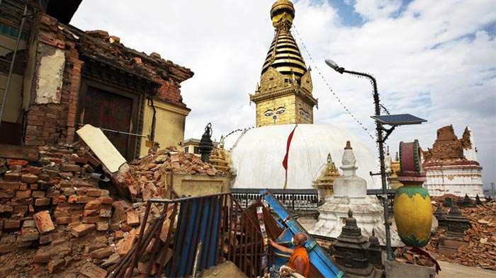 Swayambhunath was hit hard by the earthquake