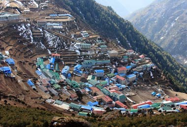 Namche Bazaar is one of the main stops on the trail up to Everest Base Camp.