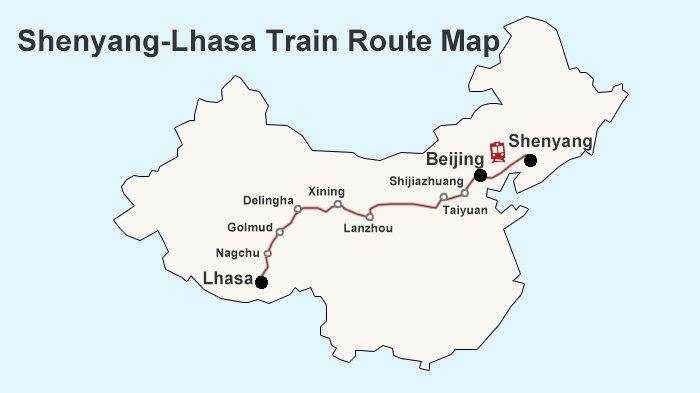 Shenyang-Lhasa Train Route Map