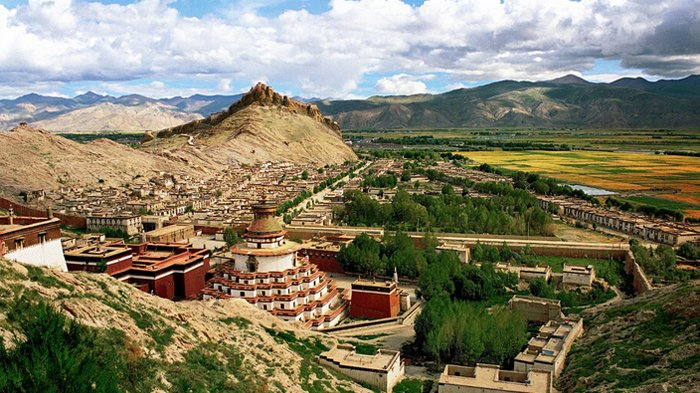 A bird's-eye view of  Palkhor  Monastery